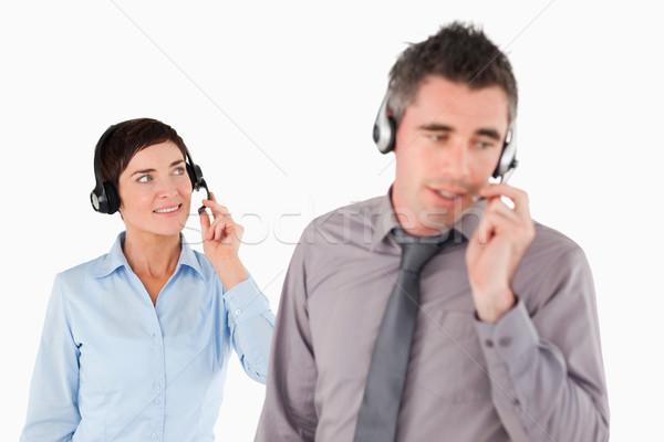 üzletemberek fehér iroda munka pár üzletember Stock fotó © wavebreak_media