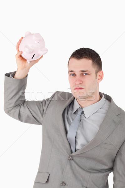 Сток-фото: портрет · бизнесмен · пусто · Piggy · Bank · белый · бизнеса