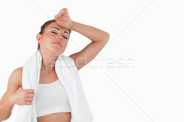 Vrouwelijke af zweten witte gezondheid Stockfoto © wavebreak_media