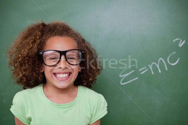 Schülerin posiert Formel Tafel Schule Gläser Stock foto © wavebreak_media
