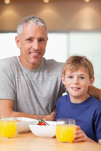 портрет мальчика отец завтрак кухне дома Сток-фото © wavebreak_media