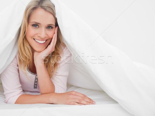女性 ベッド キルト 頭 ストックフォト © wavebreak_media