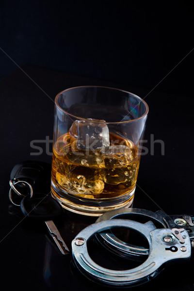 ウイスキー 岩 車のキー 手錠 黒 パーティ ストックフォト © wavebreak_media