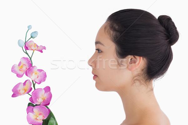 Natürlichen schauen Frau Orchideen Blumen glücklich Stock foto © wavebreak_media
