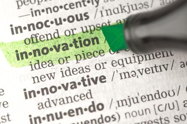 Foto d'archivio: Innovazione · definizione · verde · dizionario · istruzione · studiare