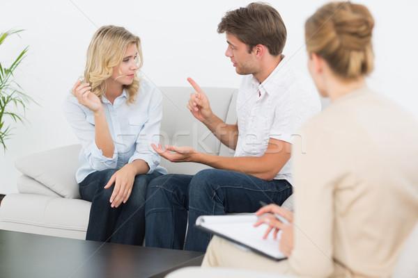 Couple réunion financière conseiller maison Photo stock © wavebreak_media