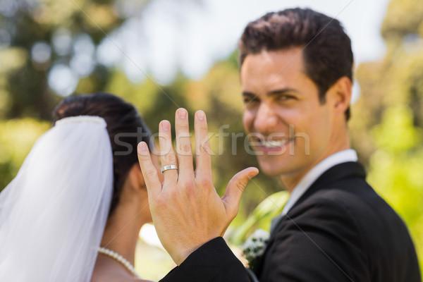 花婿 結婚指輪 公園 クローズアップ ストックフォト © wavebreak_media
