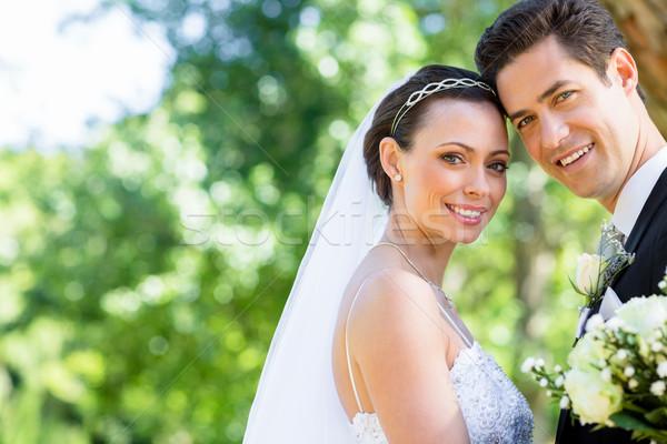 Liefhebbend bruid bruidegom tuin portret gelukkig Stockfoto © wavebreak_media