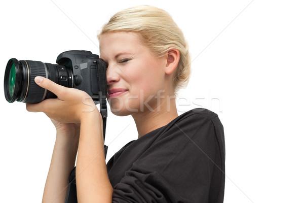 美しい 女性 カメラマン 白 技術 笑みを浮かべて ストックフォト © wavebreak_media