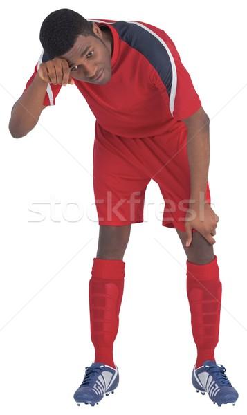 Futballista piros lélegzet fehér futball viselet Stock fotó © wavebreak_media
