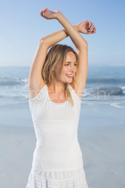Foto d'archivio: Magnifico · felice · posa · spiaggia