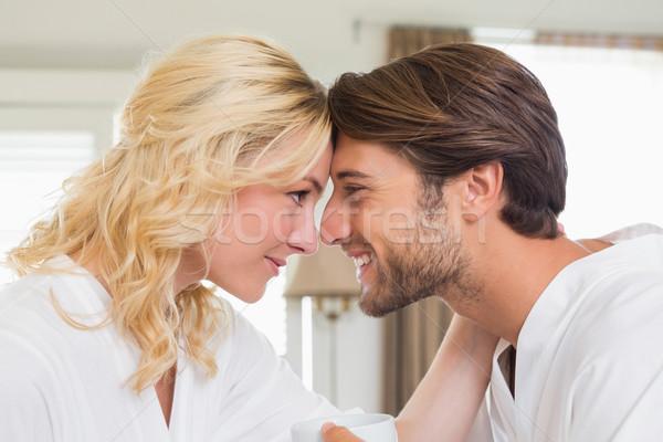Cute пару прикасаться домой гостиной счастливым Сток-фото © wavebreak_media