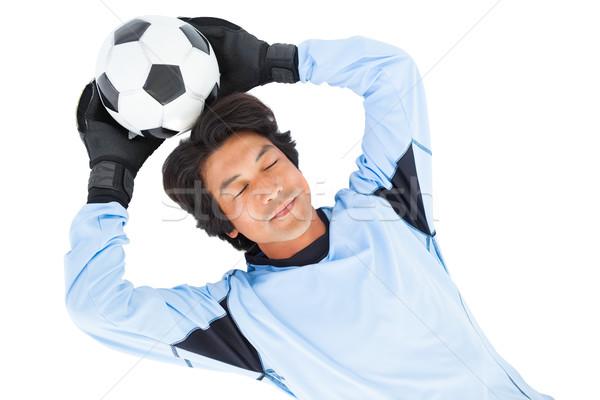 Torhüter blau halten Ball weiß Mann Stock foto © wavebreak_media