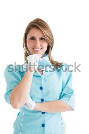 美しい スチュワーデス 青 ユニフォーム 肖像 白 ストックフォト © wavebreak_media
