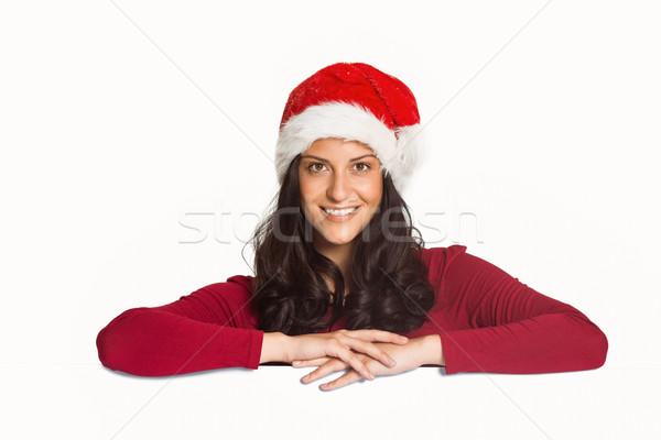Mulher sorrindo câmera branco vermelho feminino natal Foto stock © wavebreak_media