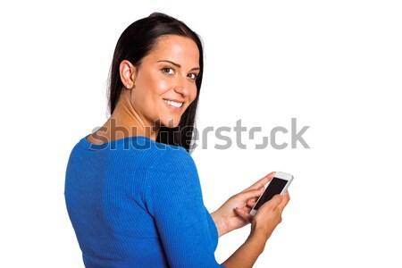 Fiatal barna hajú küldés szöveg fehér női Stock fotó © wavebreak_media