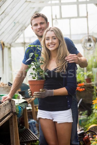 Cute пару садоводства теплица домой саду Сток-фото © wavebreak_media