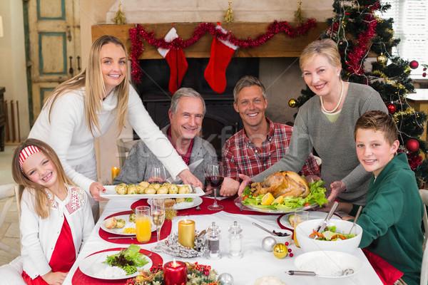 Two women serving christmas dinner to their family Stock photo © wavebreak_media