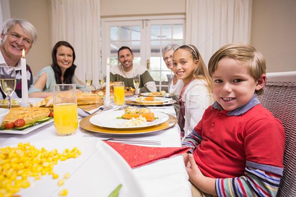 Három generáció család karácsony vacsora együtt Stock fotó © wavebreak_media