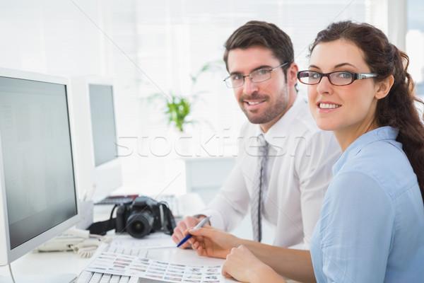 Foto stock: Retrato · alegre · equipe · escritório · reunião