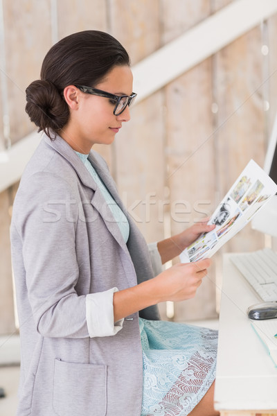 Stylish brunette working from home Stock photo © wavebreak_media