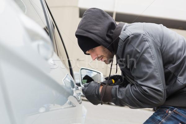 Stock fotó: Tolvaj · autó · csavarhúzó · kalap · férfi · biztosítás