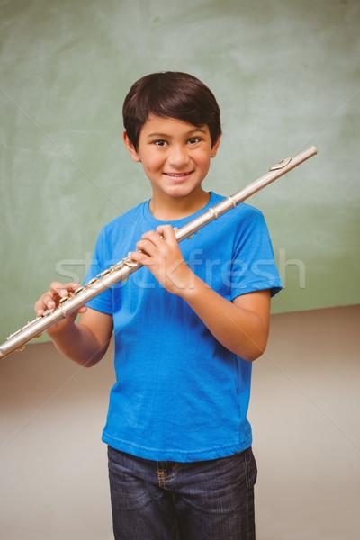 Ragazzo giocare flauto classe ritratto cute Foto d'archivio © wavebreak_media