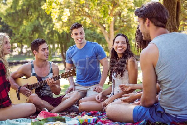 счастливым друзей парка пикника женщину Сток-фото © wavebreak_media