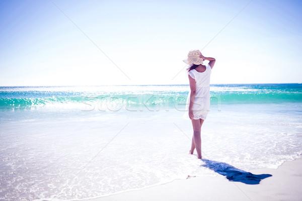 Csinos barna hajú visel szalmakalap sétál víz Stock fotó © wavebreak_media
