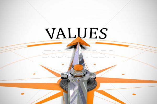Stock fotó: értékek · iránytű · szó · nyíl · kaland · szöveg
