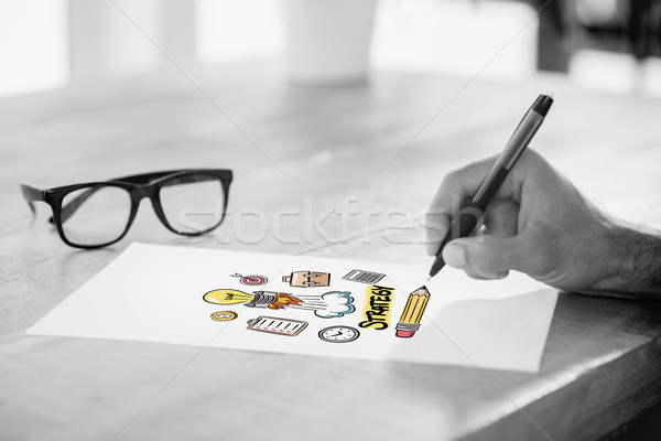 Composite image of side view of hand writing on white page on wo Stock photo © wavebreak_media