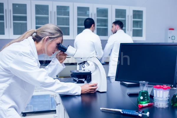Wetenschap student werken microscoop lab universiteit Stockfoto © wavebreak_media