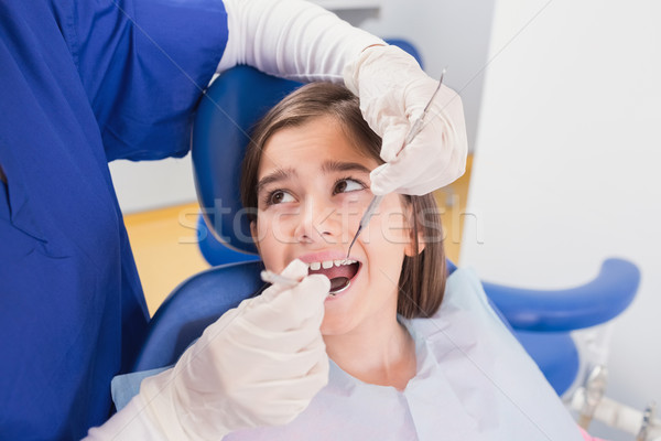Pediatric dentist doing examination at a scared young patient Stock photo © wavebreak_media