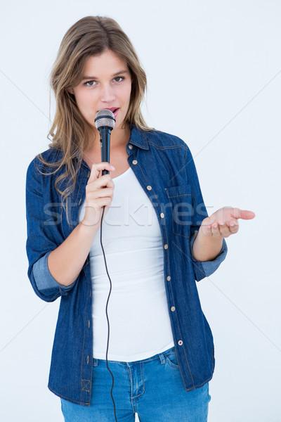 女性 歌 マイク 白 美 女性 ストックフォト © wavebreak_media