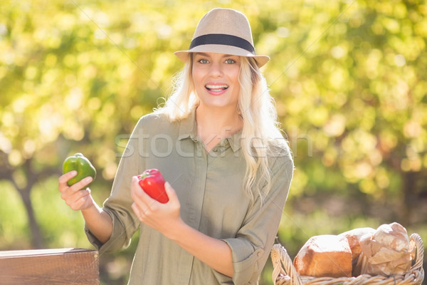 Smiling blonde holding red and green peppers Stock photo © wavebreak_media