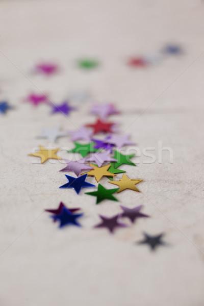 Kleurrijk star vorm decoratie witte textiel Stockfoto © wavebreak_media