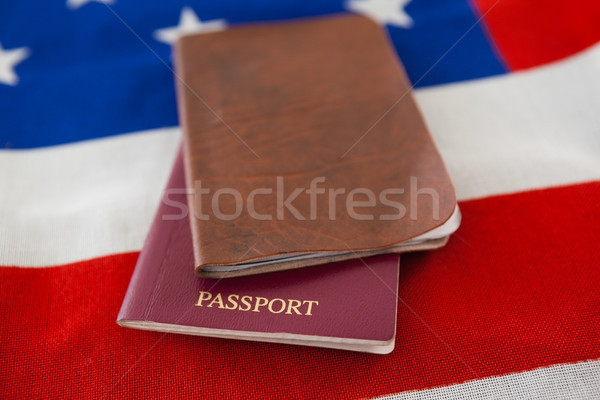 Foto stock: Passaporte · visa · bandeira · americana · segurança · azul