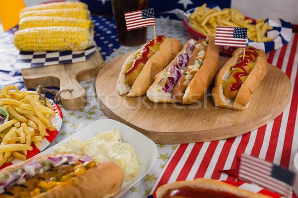 Mais Holztisch Essen blau Stock foto © wavebreak_media