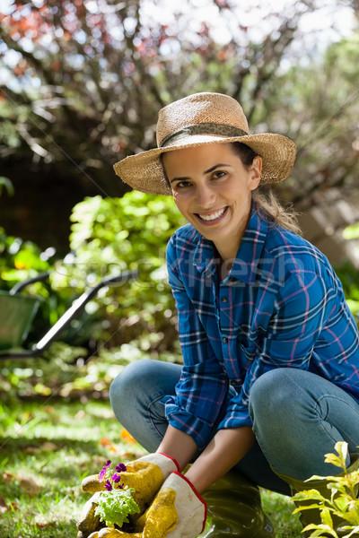 Portré mosolygó nő ültet palánta udvar visel Stock fotó © wavebreak_media