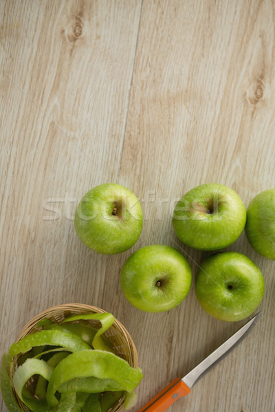 Overhead view of granny smith apples by peel and knife Stock photo © wavebreak_media