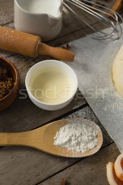 Photo stock: Ingrédients · bois · cuisine · table · bleu