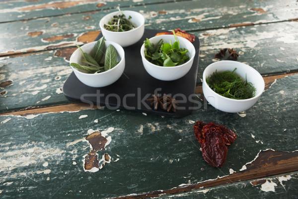 Baharatlar otlar ahşap masa pişirme nane Stok fotoğraf © wavebreak_media