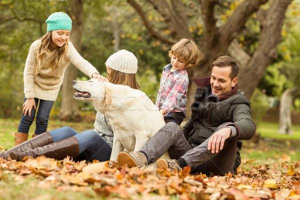 Jeunes famille chien femme heureux enfant Photo stock © wavebreak_media