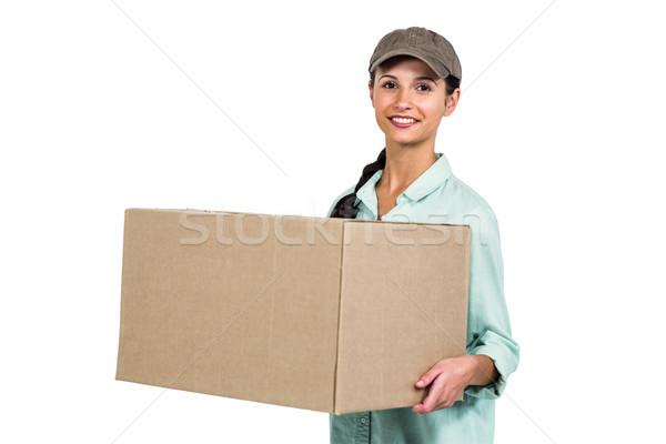 Feliz entrega mujer Pack sonriendo Foto stock © wavebreak_media