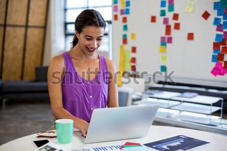 Kadın moda tasarımcı dijital tablet ev Stok fotoğraf © wavebreak_media