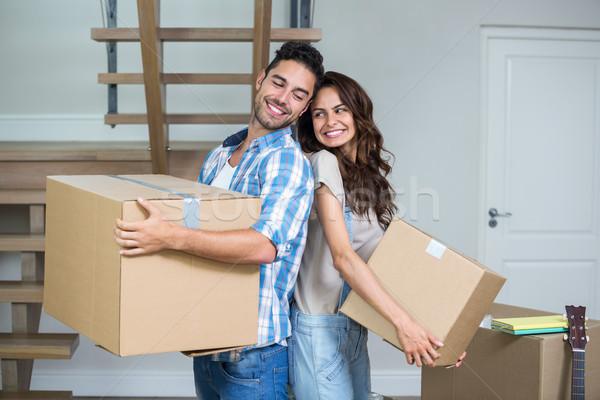 Boldog pár dobozok otthon nő ház Stock fotó © wavebreak_media