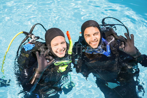 Paar oefenen samen glimlachend scuba Stockfoto © wavebreak_media