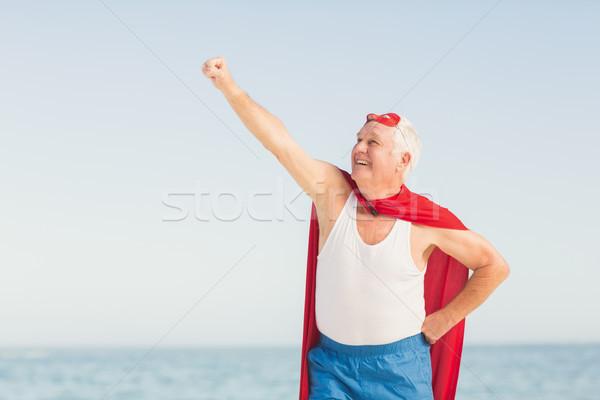 старший человека superhero счастливым морем Сток-фото © wavebreak_media