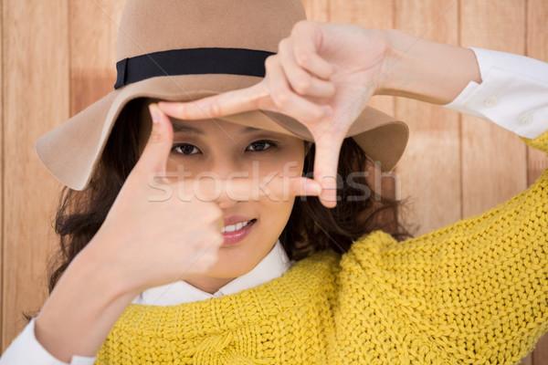 Hipszter készít felirat ujjak fából készült férfi Stock fotó © wavebreak_media