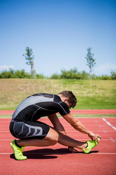 Atléta felfelé fut útvonal napos idő férfi Stock fotó © wavebreak_media